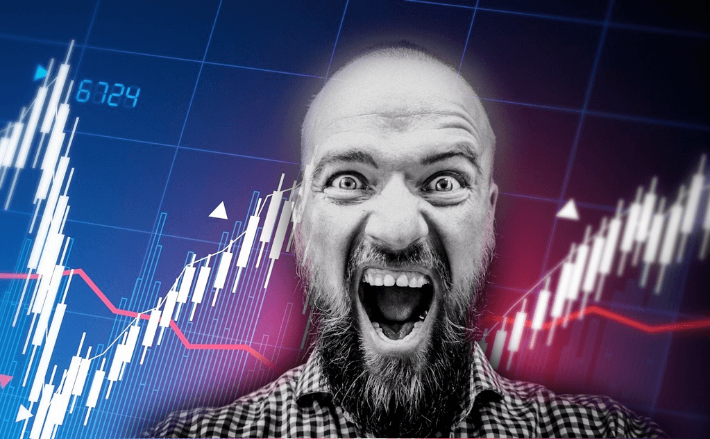 Picture of screaming man believing every tick on the chart is a referendum on himself