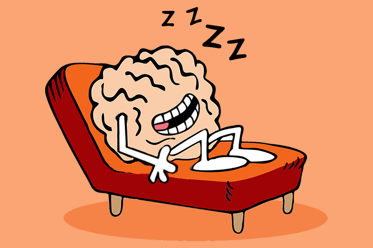 Cartoon picture of a lazy brain reclining on a couch